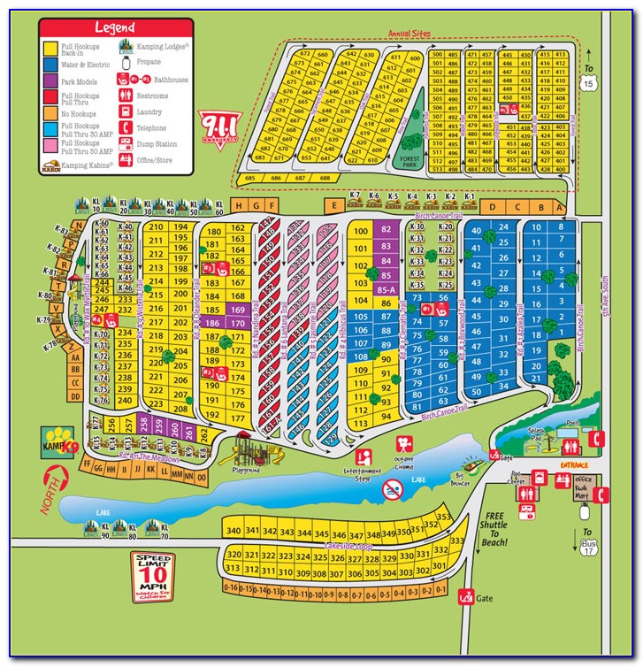 Myrtle Beach Koa Campground Map