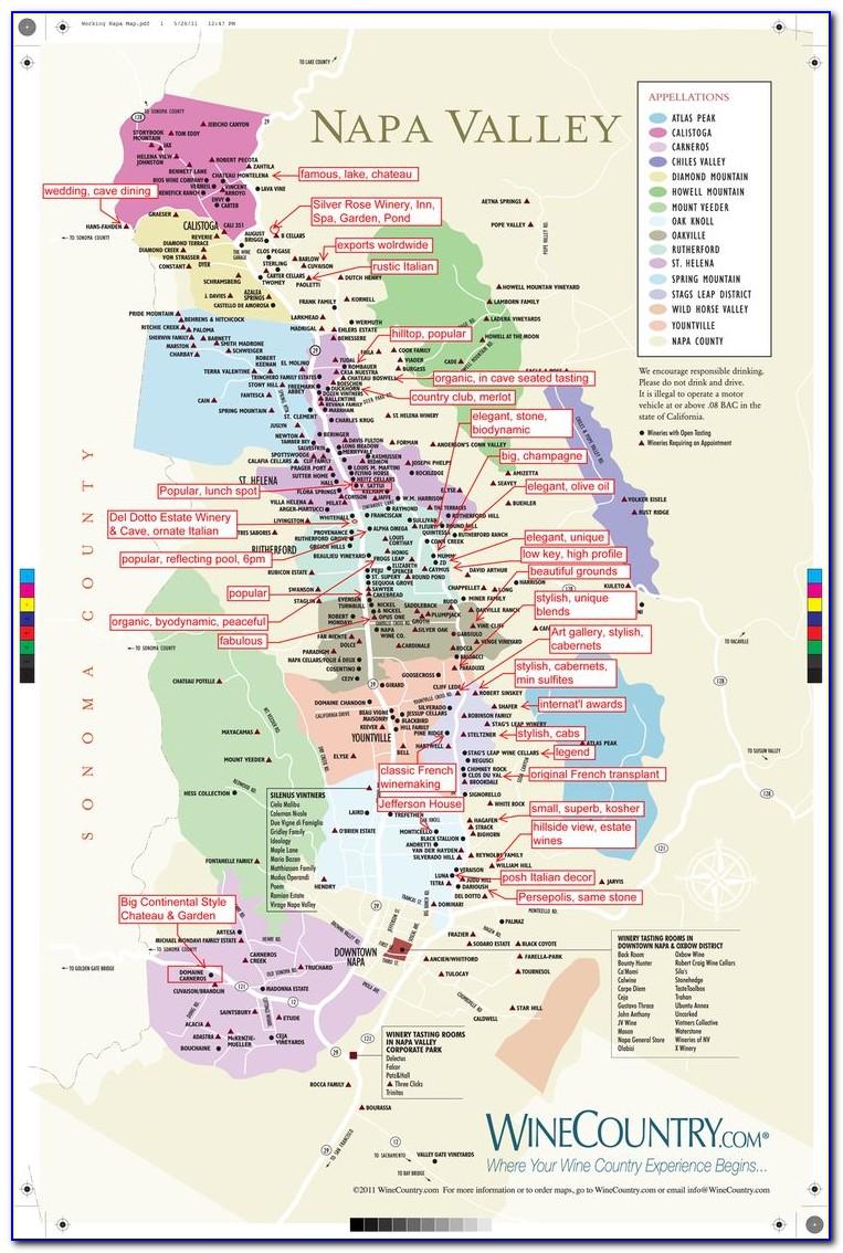 Napa Valley Vineyard Map