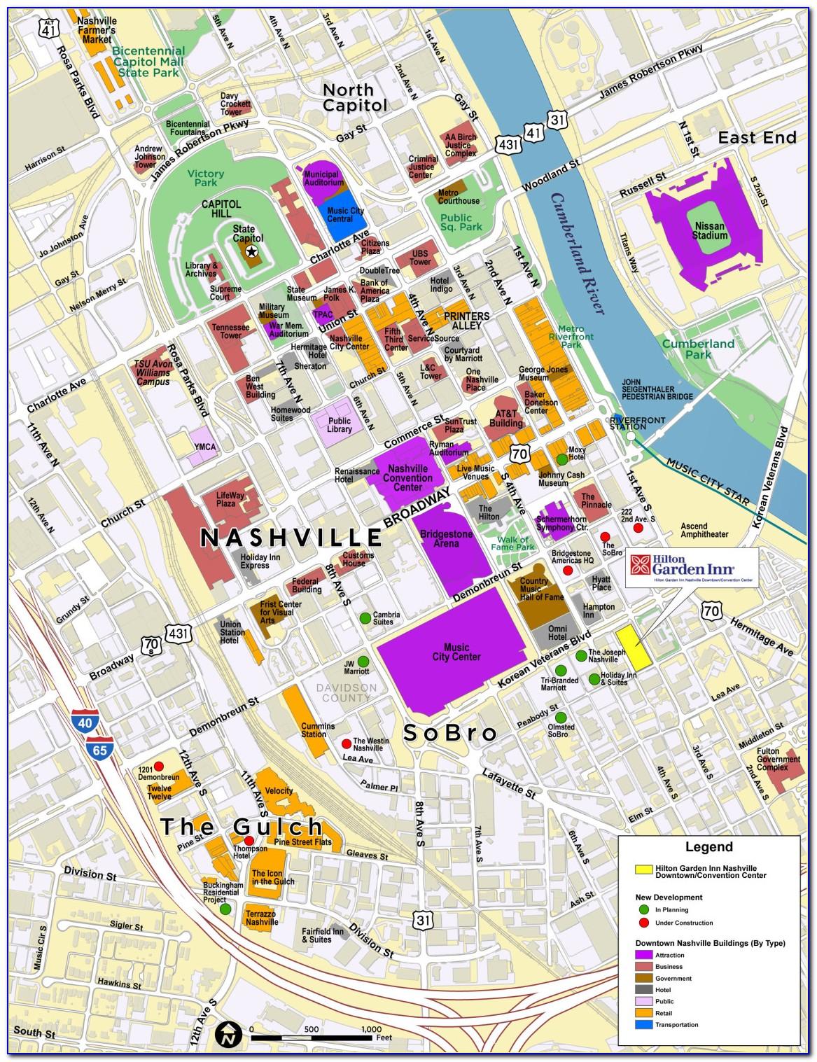 Nashville Tn Hotels Downtown Map
