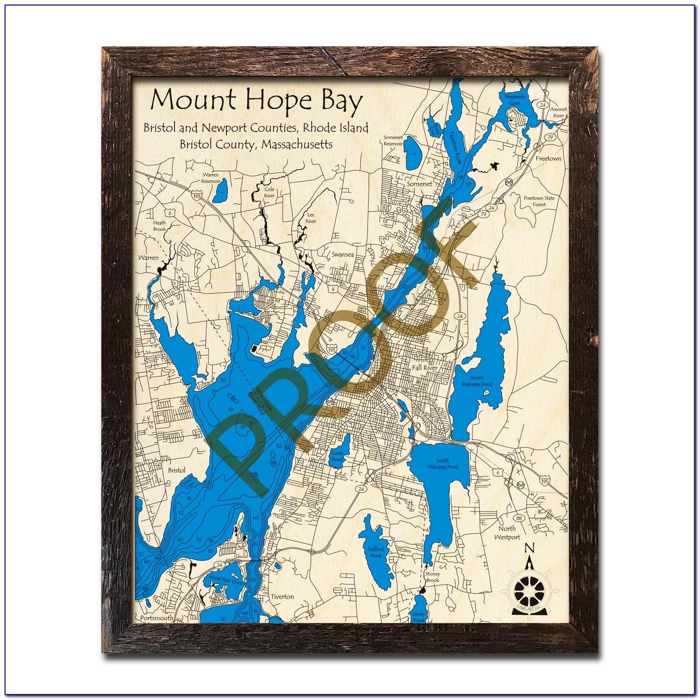 Nautical Wood Maps Maine