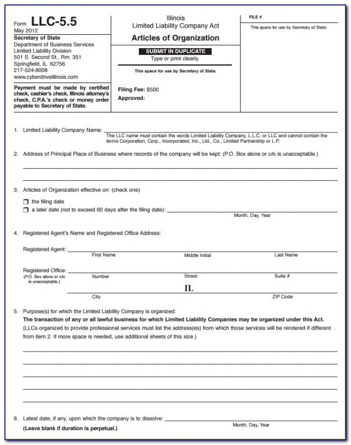 Nc Secretary Of State Llc Forms
