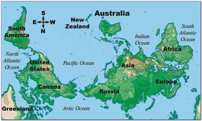 New Zealand World Map Upside Down
