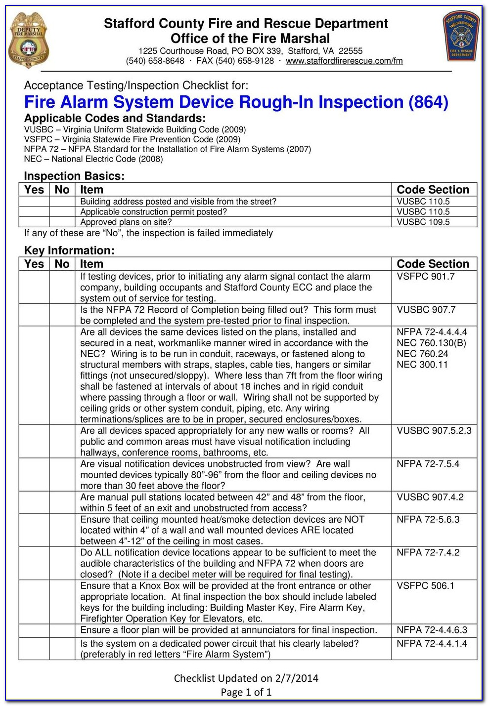 Nfpa 101 Inspection Forms