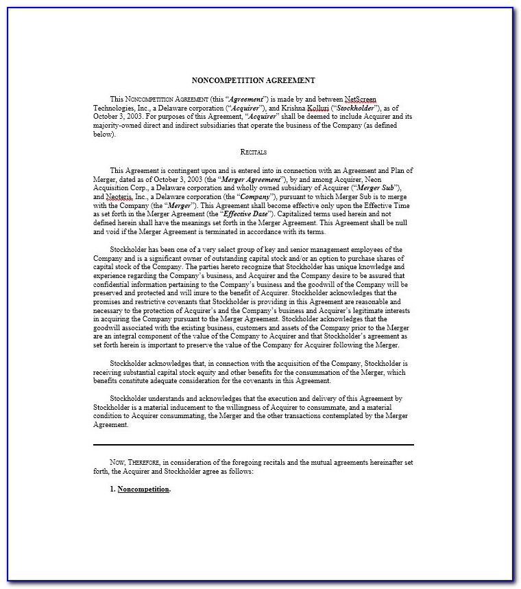 Non Compete Agreement Florida Form Free