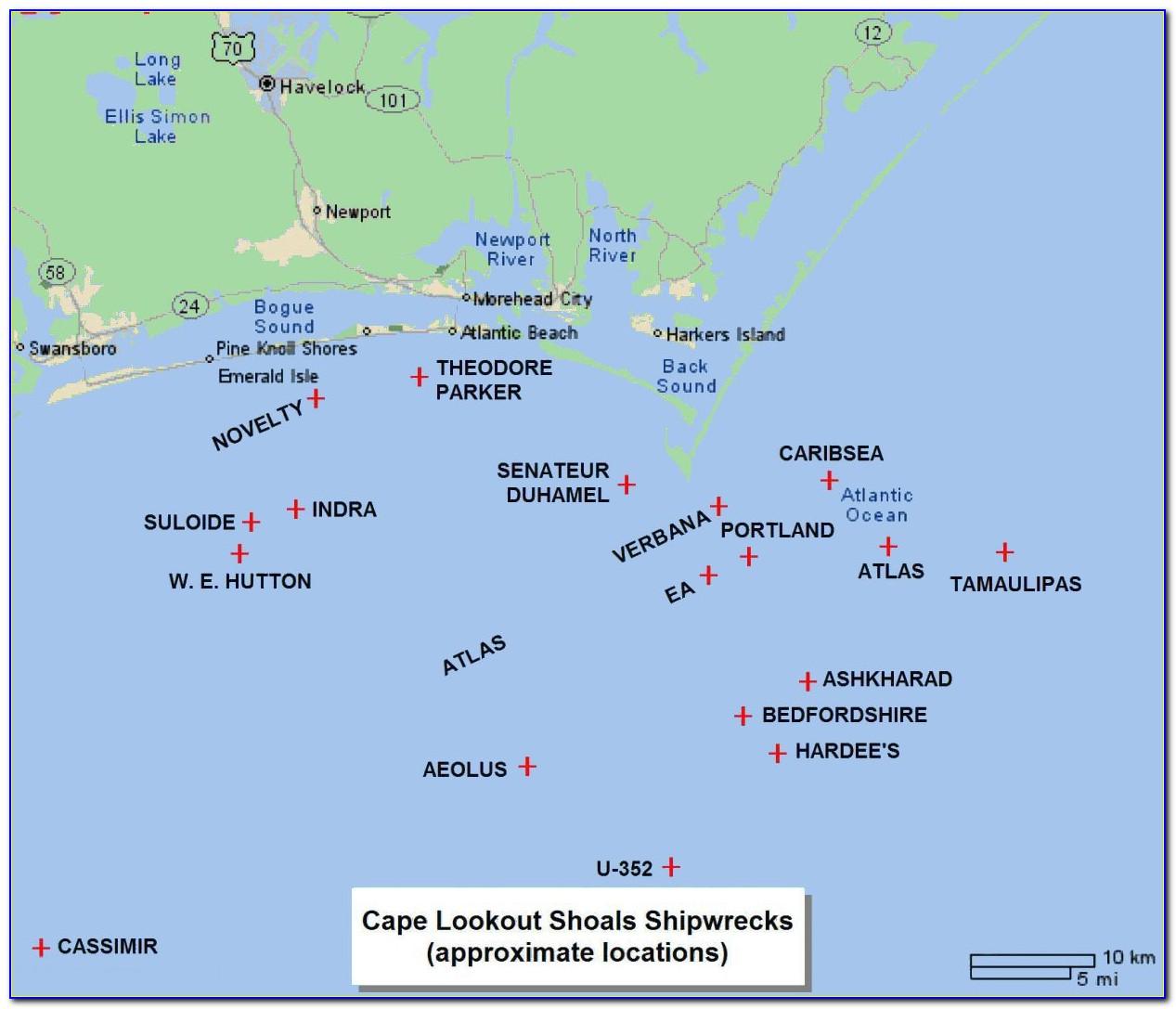 North Carolina Wreck Diving Map