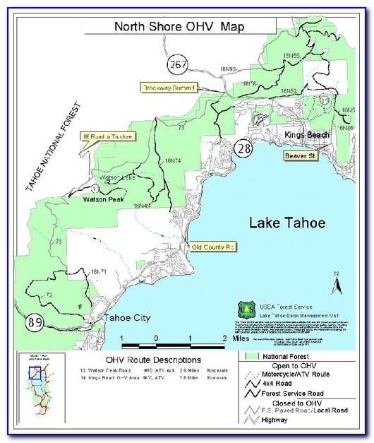 North Lake Tahoe Hiking Map