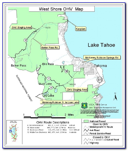 North Lake Tahoe Trail Map