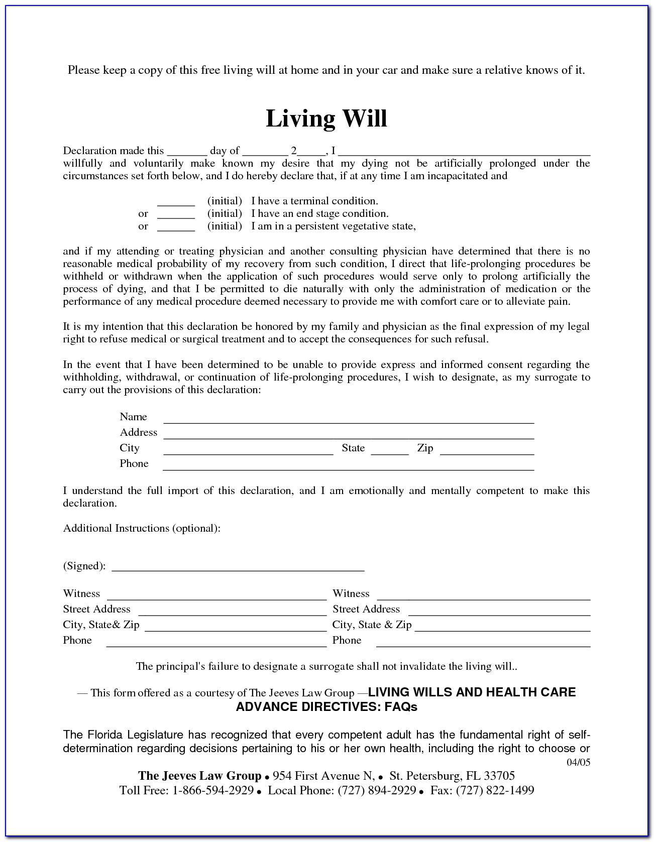 Ohio Living Wills Free Forms