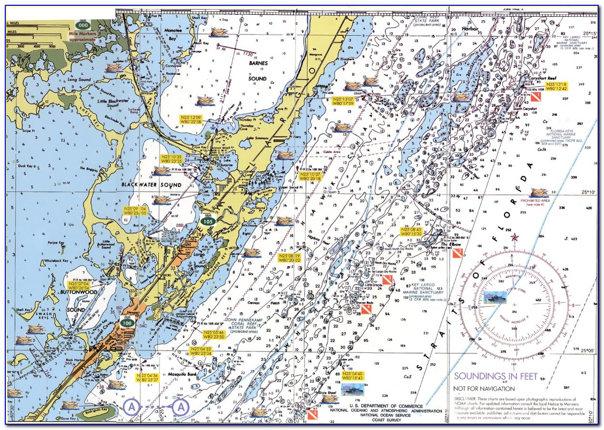 Old Nautical Map Of Florida