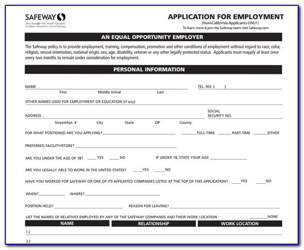 Online Job Application For Safeway