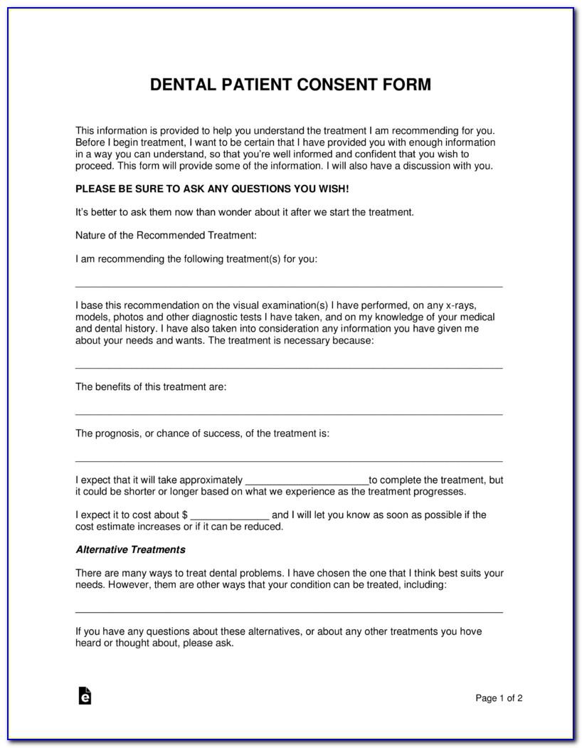 Orthodontic Consent Form Spanish