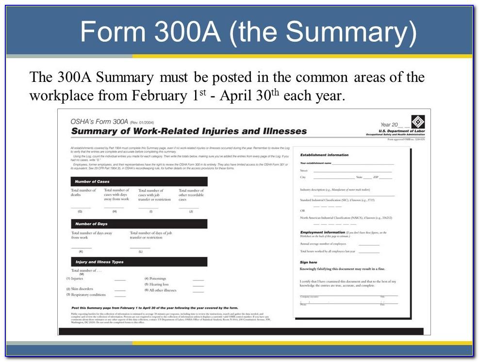 Osha Form 300a Fillable