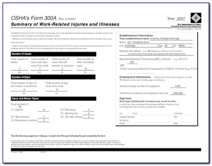 Osha Form 300a Posting Requirements