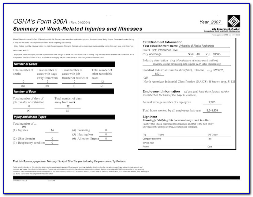 Osha Form 300a Posting Requirements