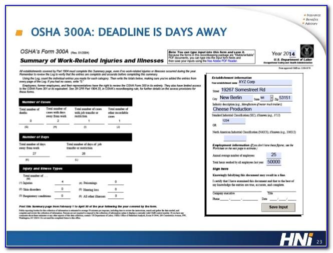 Osha Form 300a Requirements