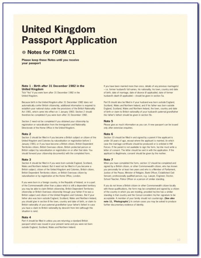 Overseas British Passport Application Form Download