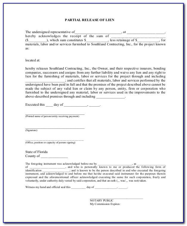 Partial Release Of Lien Form Texas