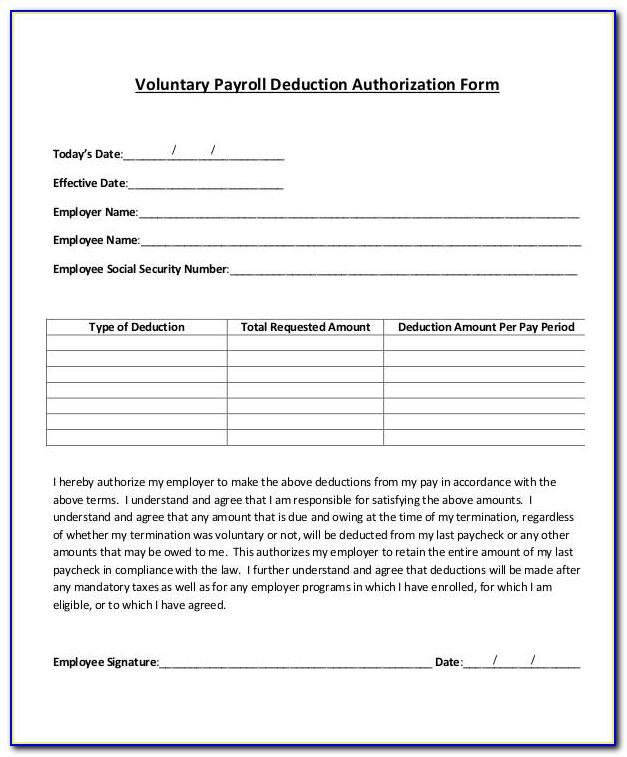 Payroll Deduction Form Template Australia