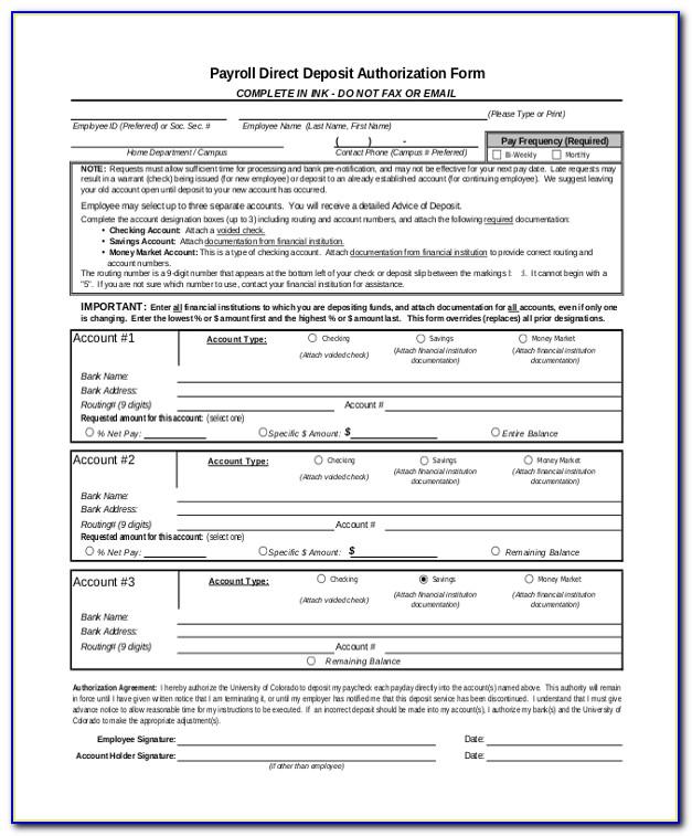 Payroll Direct Deposit Authorization Form Wells Fargo