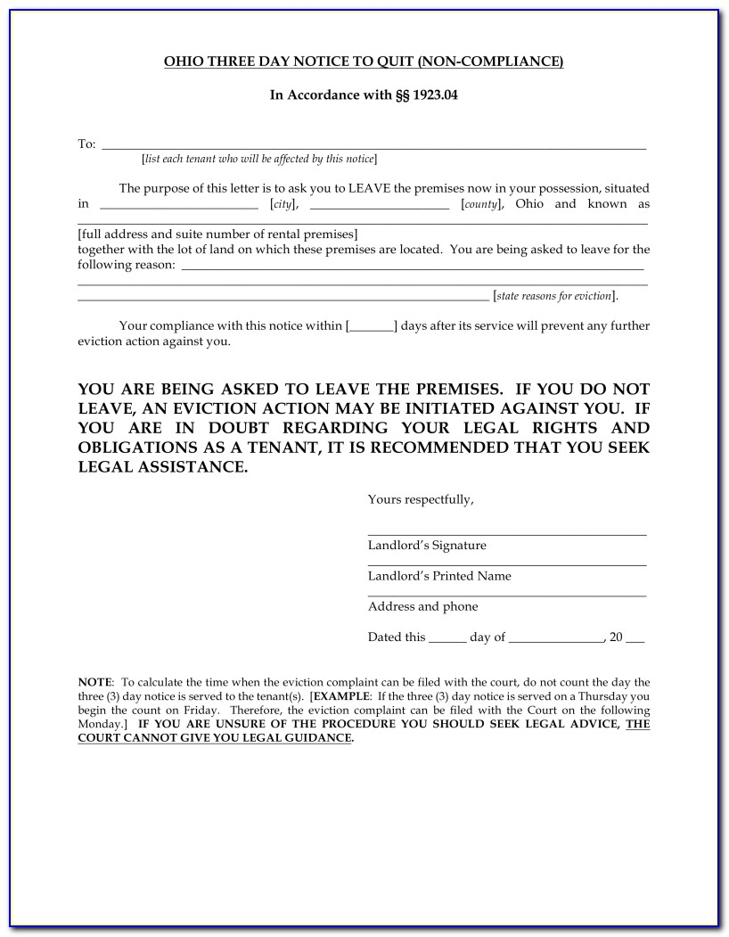 Pdffiller 3 Day Eviction Notice Form