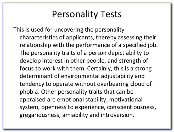 Personality Test For Job Applicants