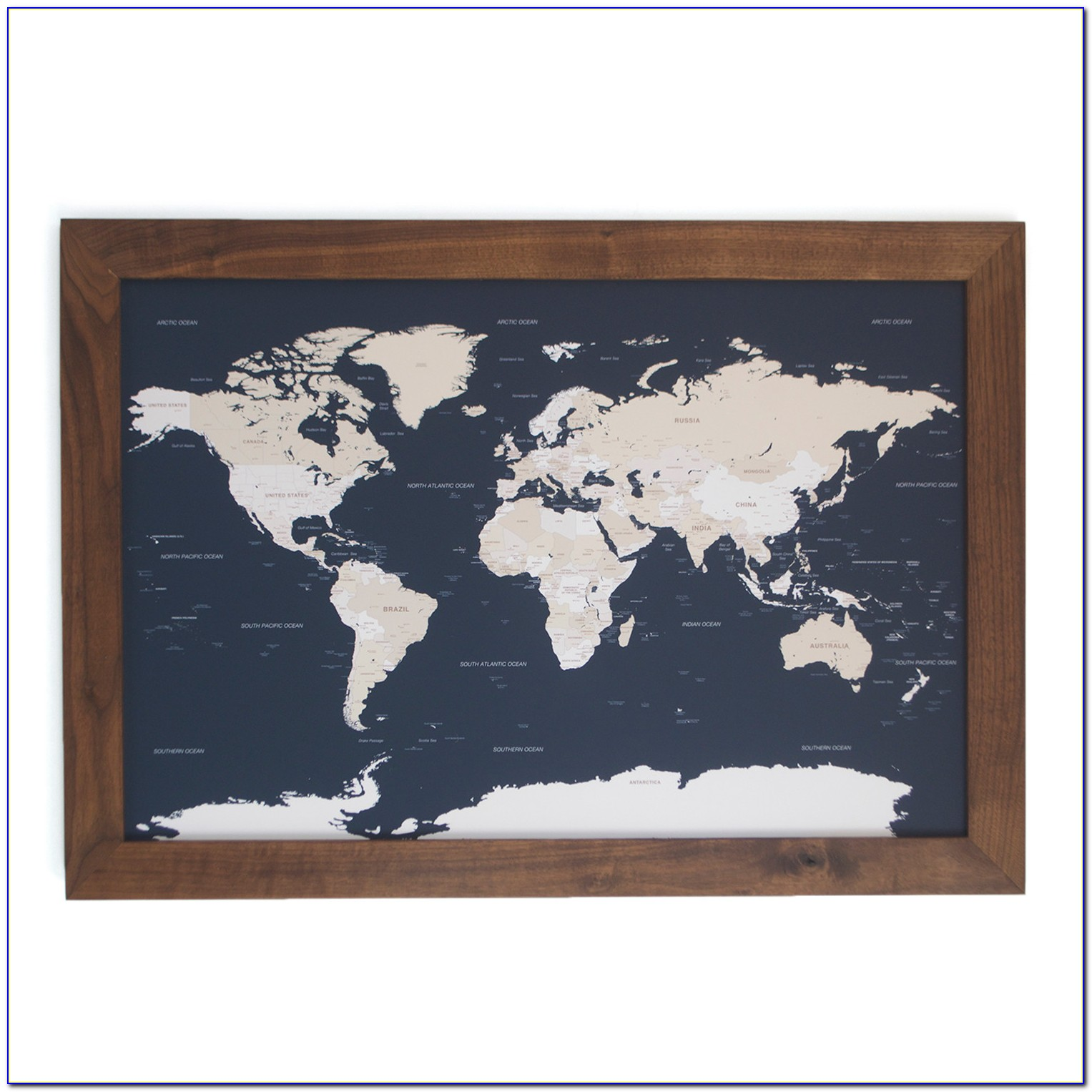 Personalized Framed World Map With Pins