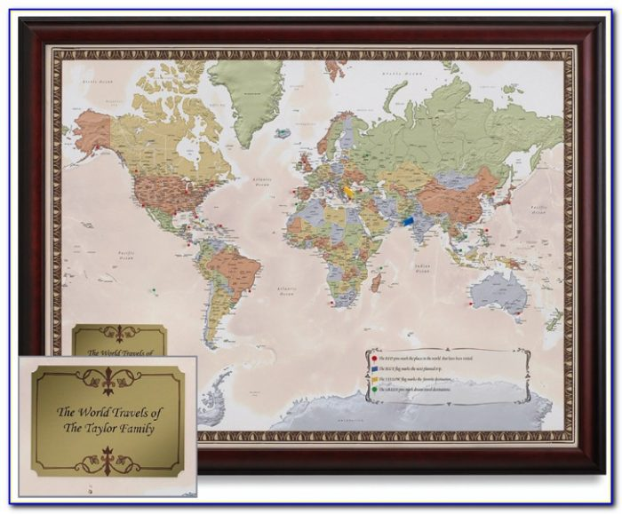 Personalized World Travel Map Framed