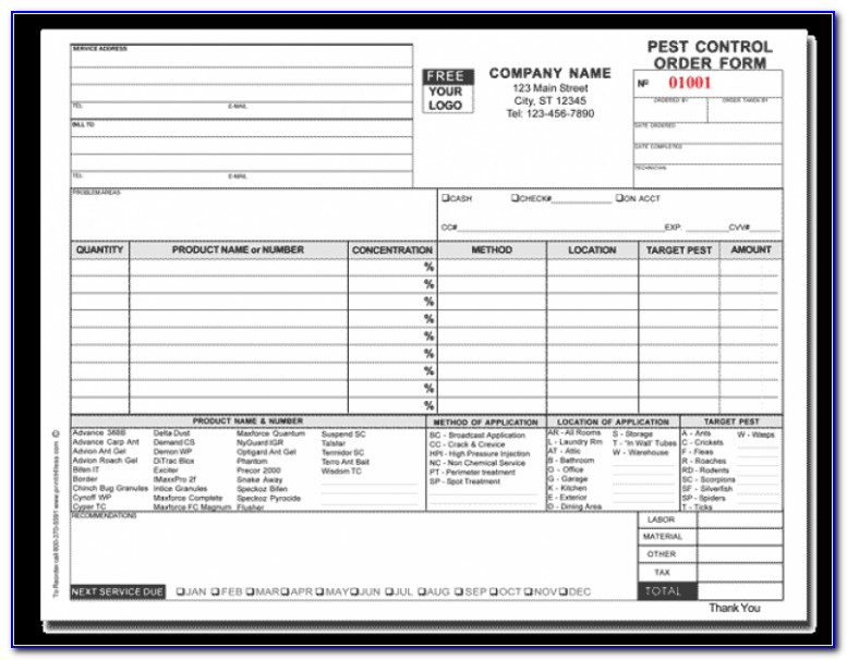 Pest Control Forms Templates Free