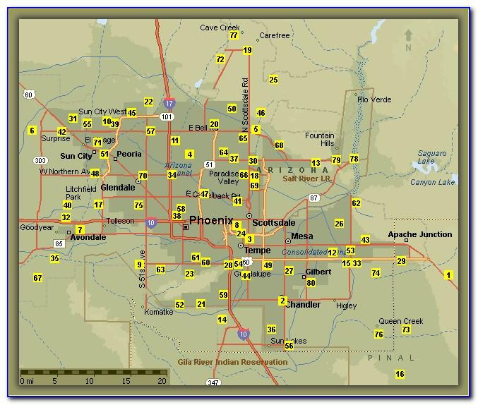 Phoenix Public Golf Courses Map