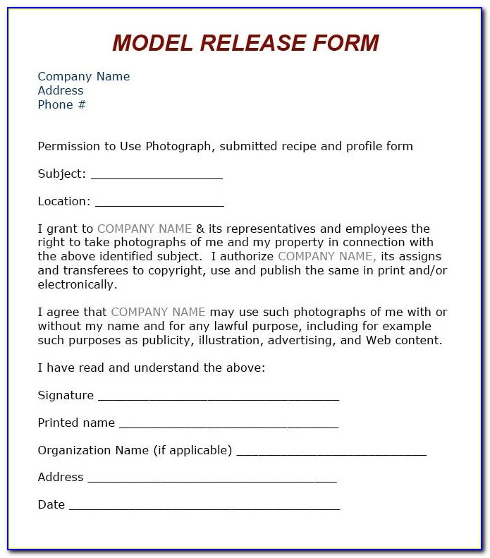 Photographers Model Release Template