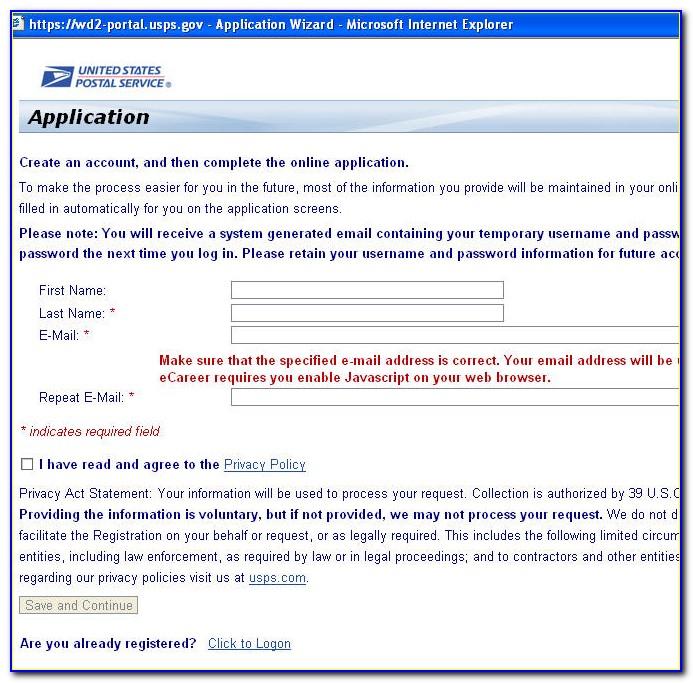 Post Office Job Application Form 2017