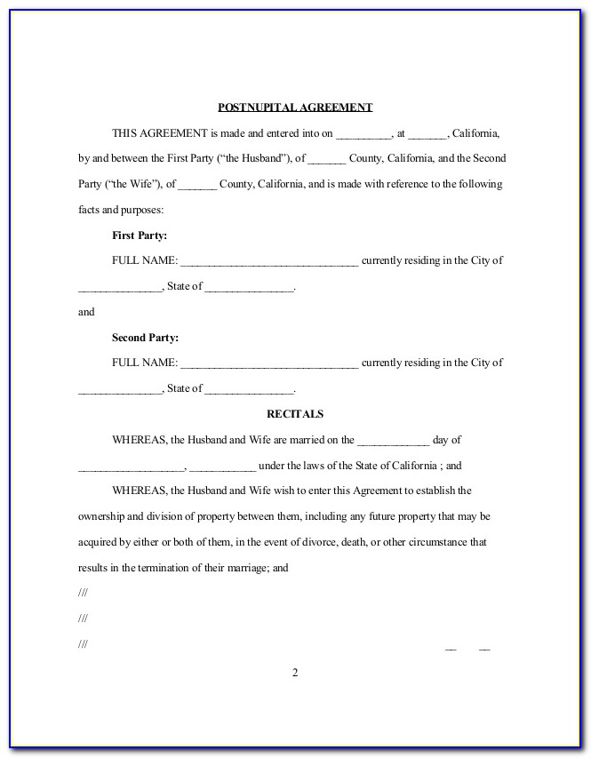 Postnuptial Agreement California Form Free