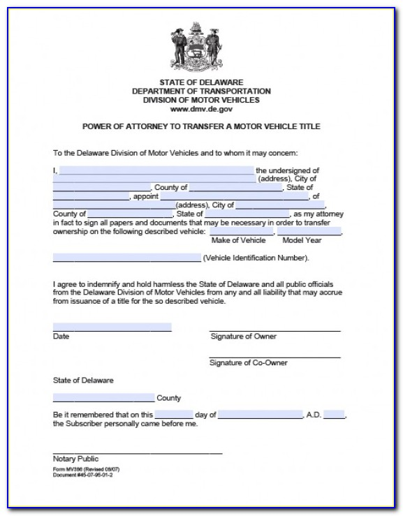 Power Of Attorney Stock Transfer Form