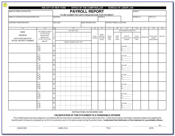 Prevailing Wage Certified Payroll Form Nj