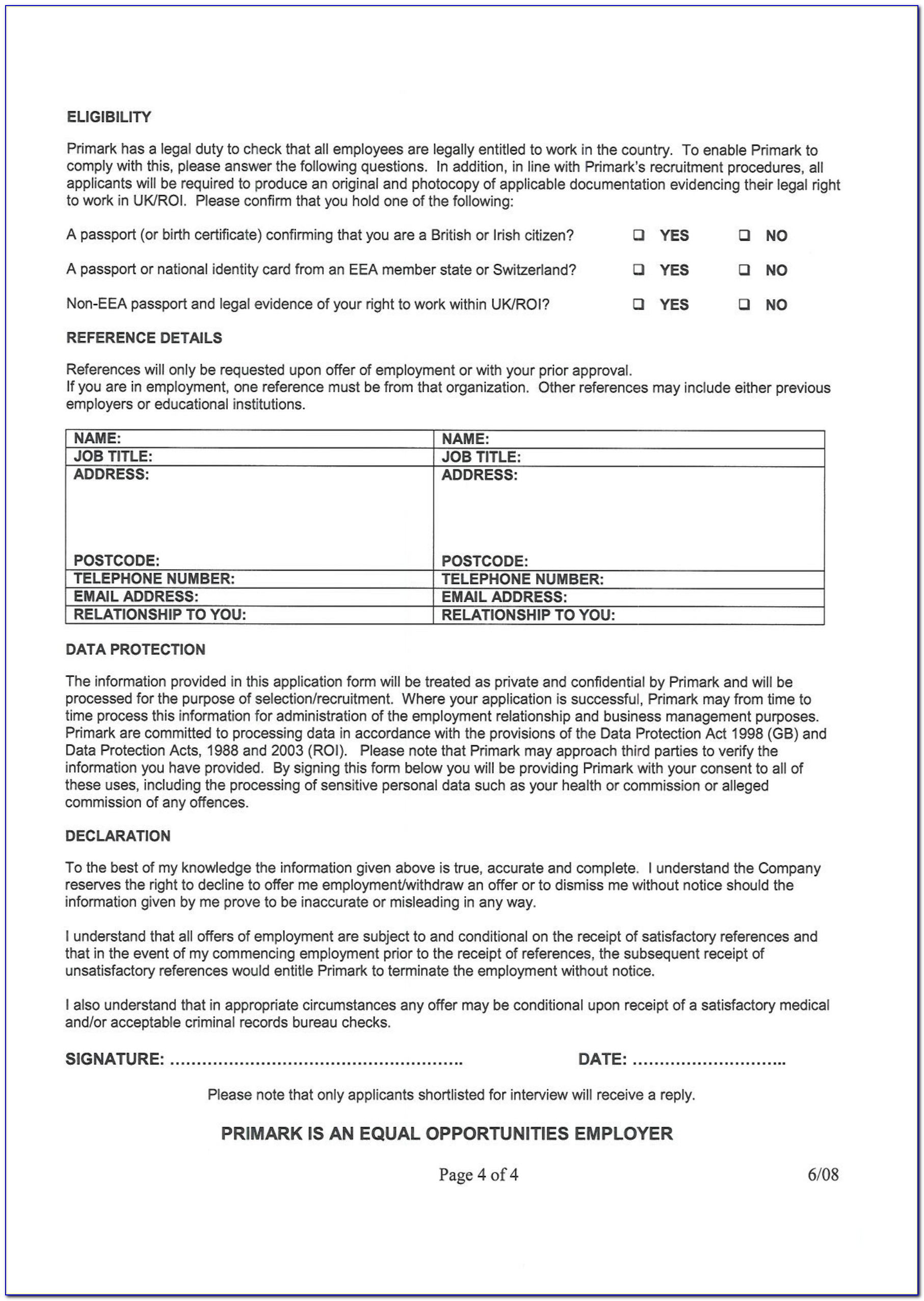 Primark Jobs Application Form Online