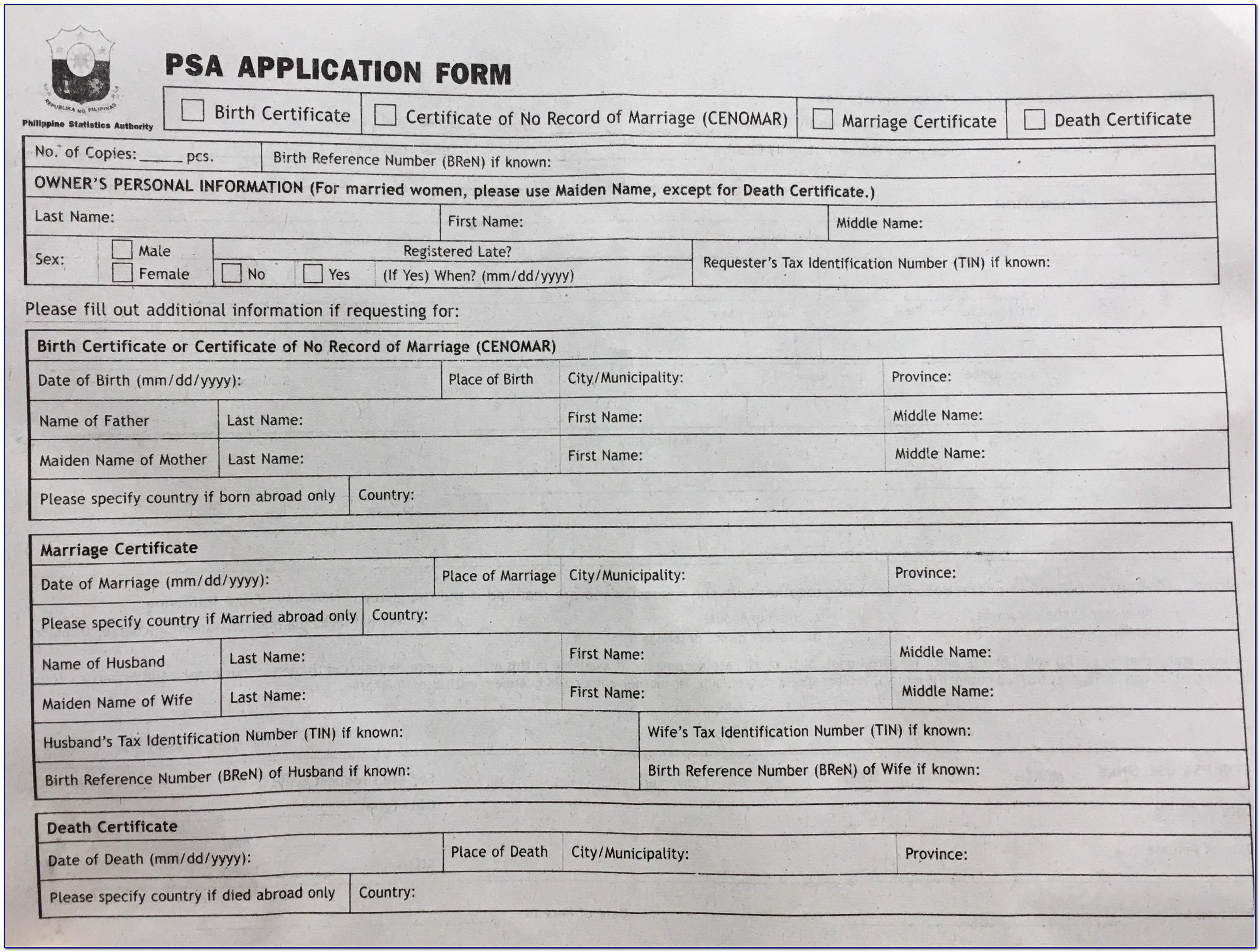Printable Alberta Birth Certificate Application Form Online