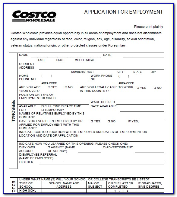 Printable Employment Application Template
