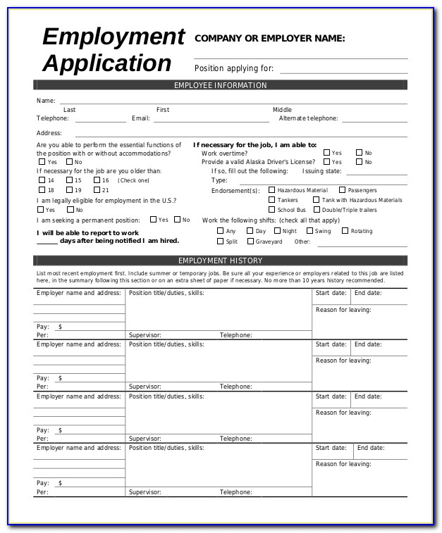 Printable Job Applications Forms