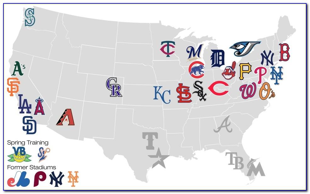 Printable Map Of Major League Baseball Stadiums