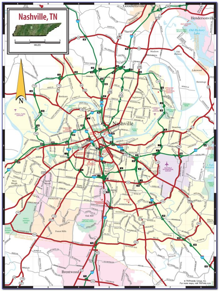 Printable Map Of Nashville Downtown
