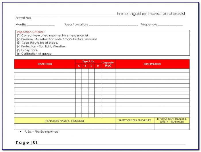 Printable Monthly Fire Extinguisher Inspection Form