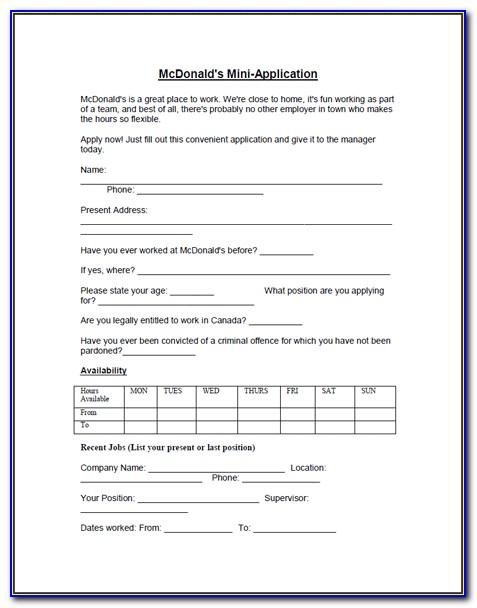 Printable Online Job Applications Mcdonalds
