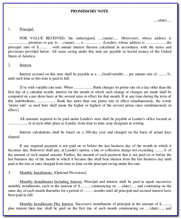 Promissory Note Legal Format India