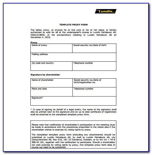 Proxy Voting Form Template Uk