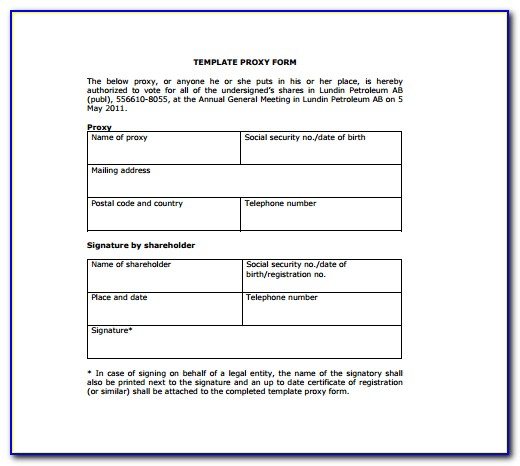 Proxy Voting Form Template