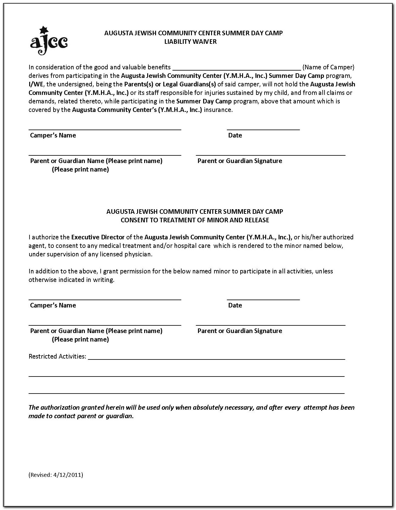 Public Liability Insurance Waiver Form