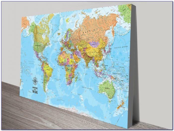 Push Pin World Map Canvas