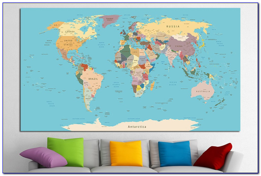 Push Pin World Map Framed