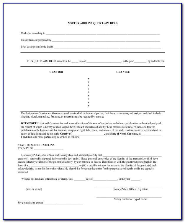 Quick Claim Deed Form Nc