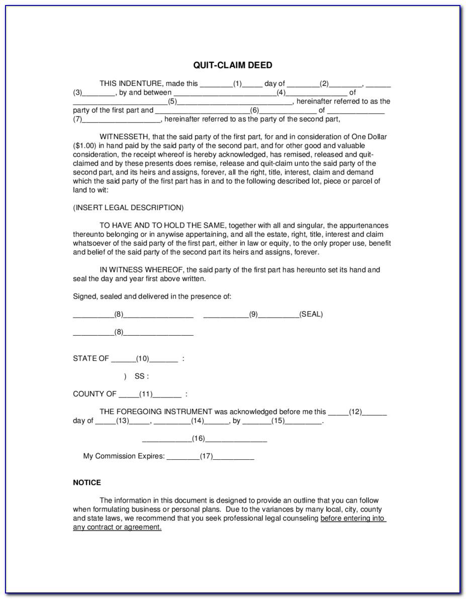 Quit Claim Deed Form Massachusetts